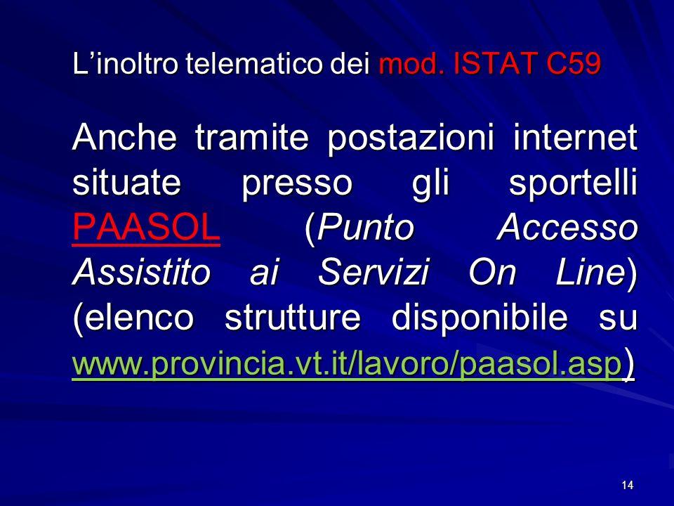 L'inoltro telematico dei mod. ISTAT C59