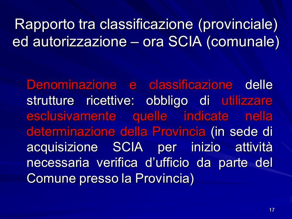 Rapporto tra classificazione (provinciale) ed autorizzazione – ora SCIA (comunale)