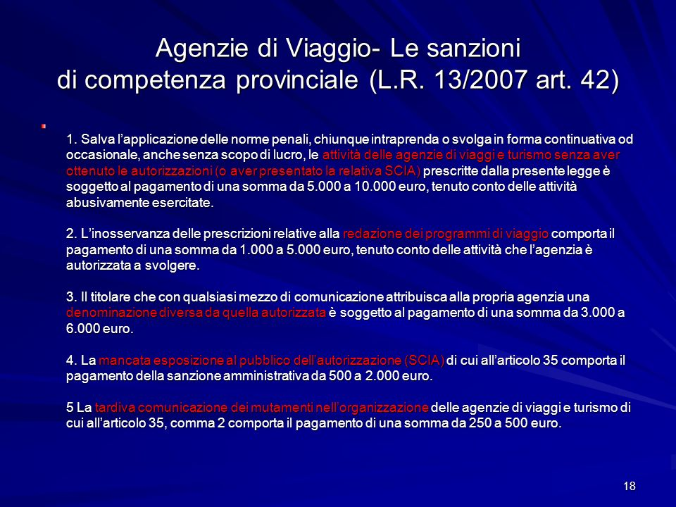 Agenzie di Viaggio- Le sanzioni di competenza provinciale (L. R