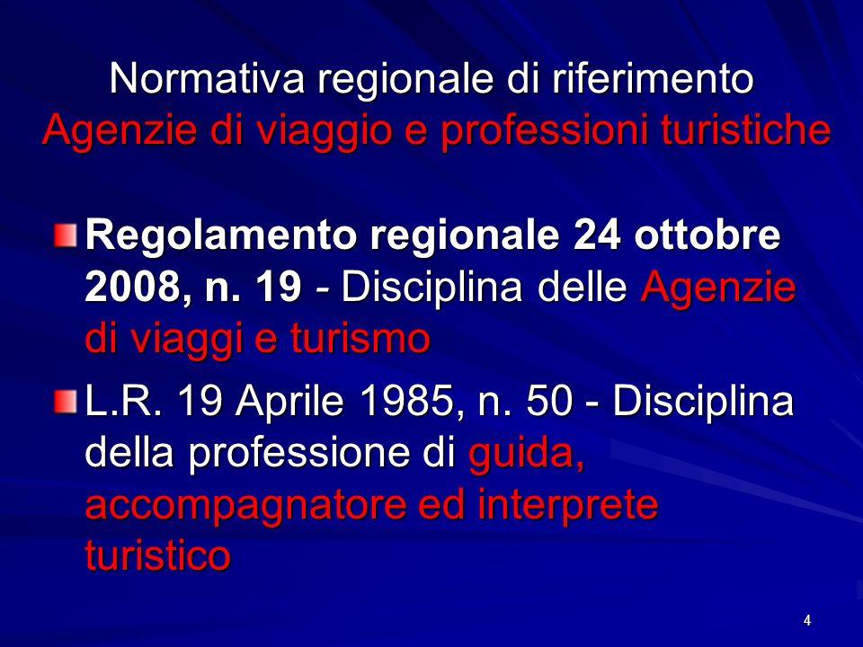 Normativa regionale di riferimento Agenzie di viaggio e professioni turistiche