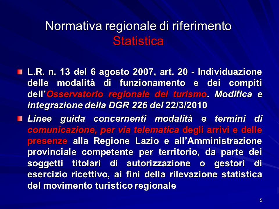 Normativa regionale di riferimento Statistica