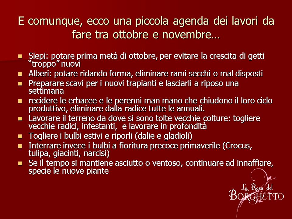 E comunque, ecco una piccola agenda dei lavori da fare tra ottobre e novembre…
