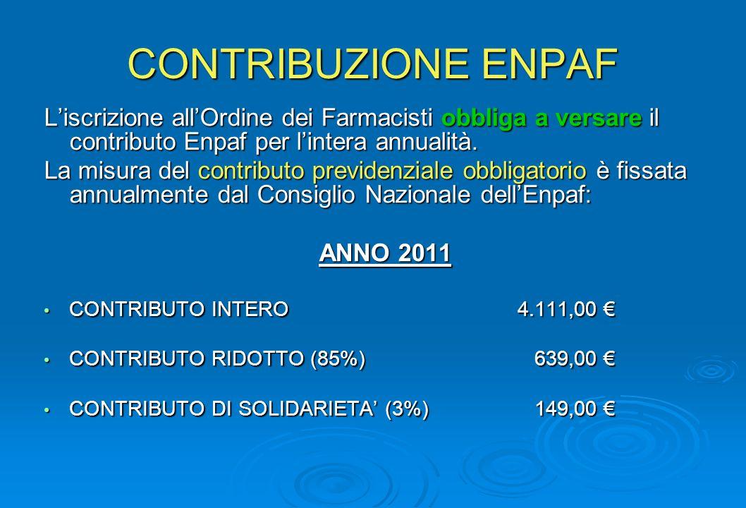 CONTRIBUZIONE ENPAF L'iscrizione all'Ordine dei Farmacisti obbliga a versare il contributo Enpaf per l'intera annualità.