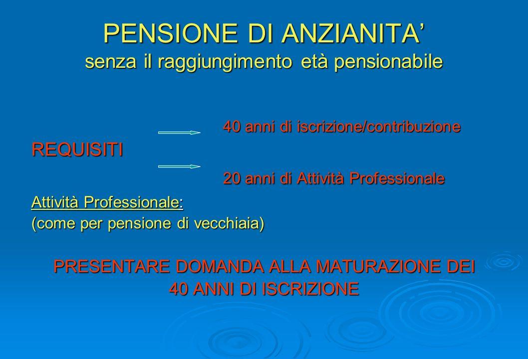 PENSIONE DI ANZIANITA' senza il raggiungimento età pensionabile