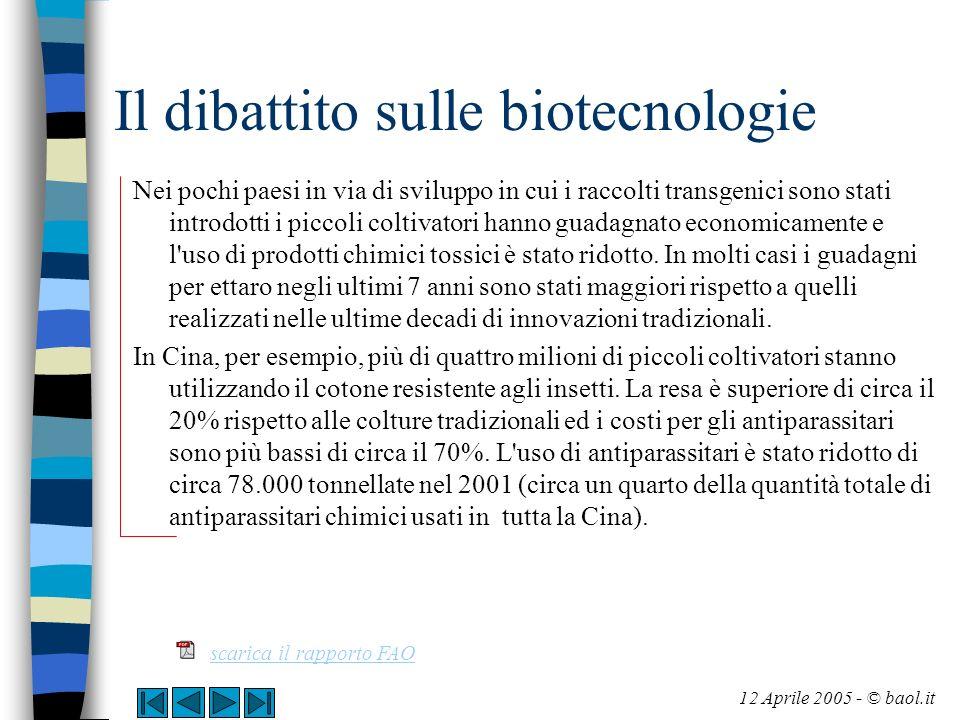 Il dibattito sulle biotecnologie