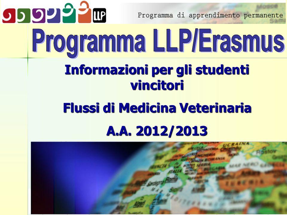 Informazioni per gli studenti vincitori Flussi di Medicina Veterinaria