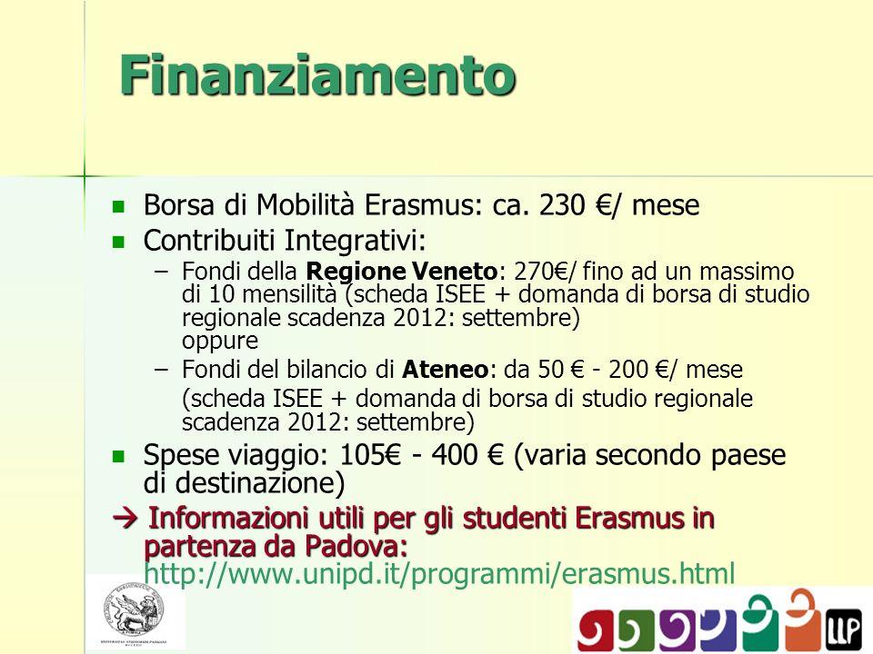 Finanziamento Borsa di Mobilità Erasmus: ca. 230 €/ mese