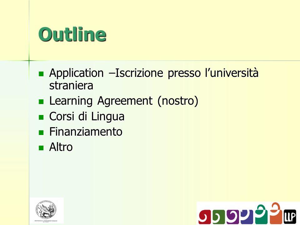 Outline Application –Iscrizione presso l'università straniera