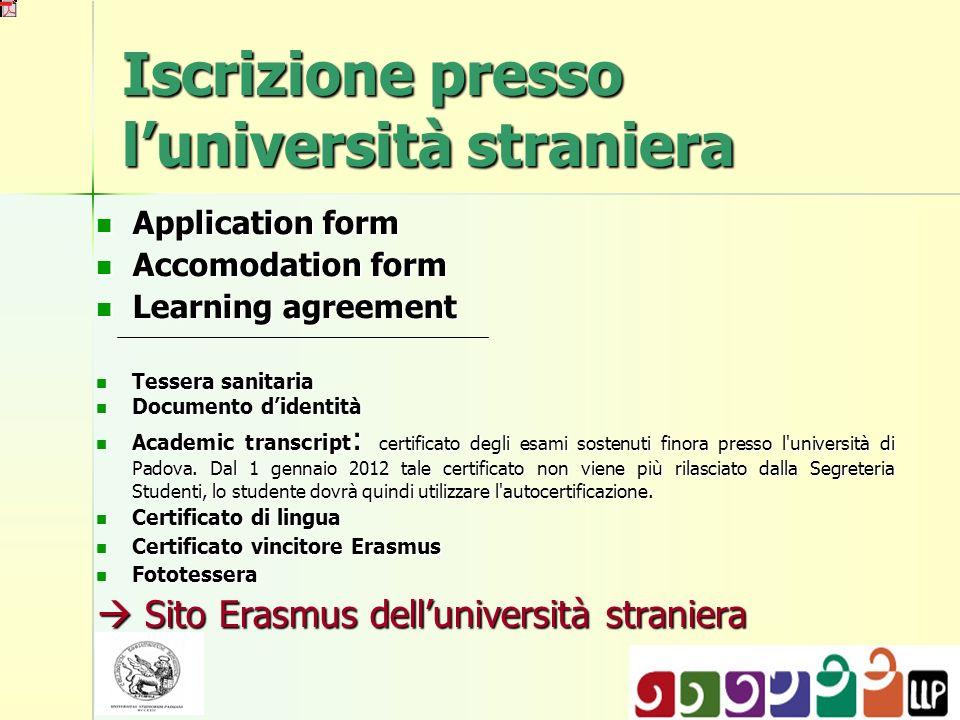 Iscrizione presso l'università straniera