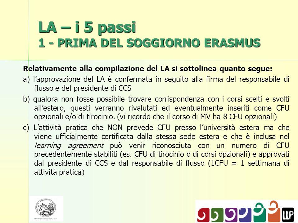LA – i 5 passi 1 - PRIMA DEL SOGGIORNO ERASMUS