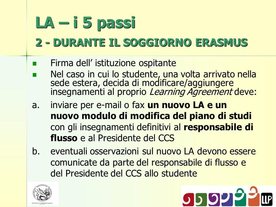 LA – i 5 passi 2 - DURANTE IL SOGGIORNO ERASMUS