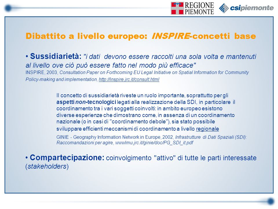 Dibattito a livello europeo: INSPIRE-concetti base
