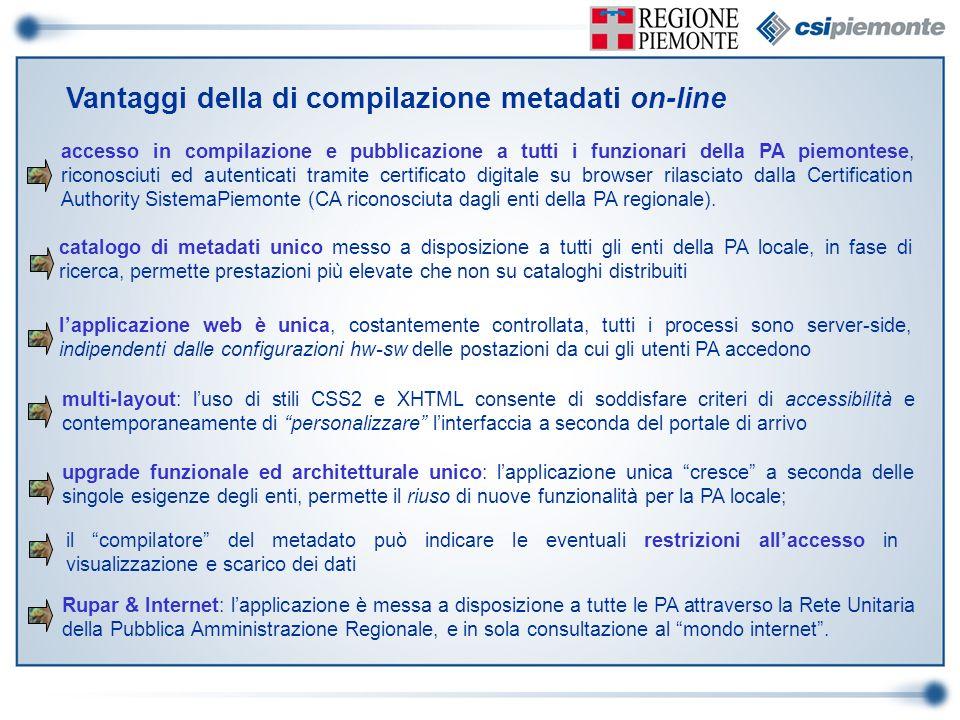 Vantaggi della di compilazione metadati on-line