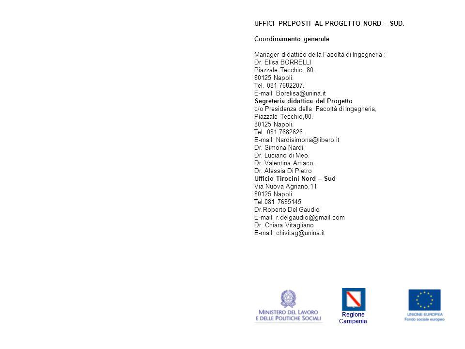 UFFICI PREPOSTI AL PROGETTO NORD – SUD. Coordinamento generale