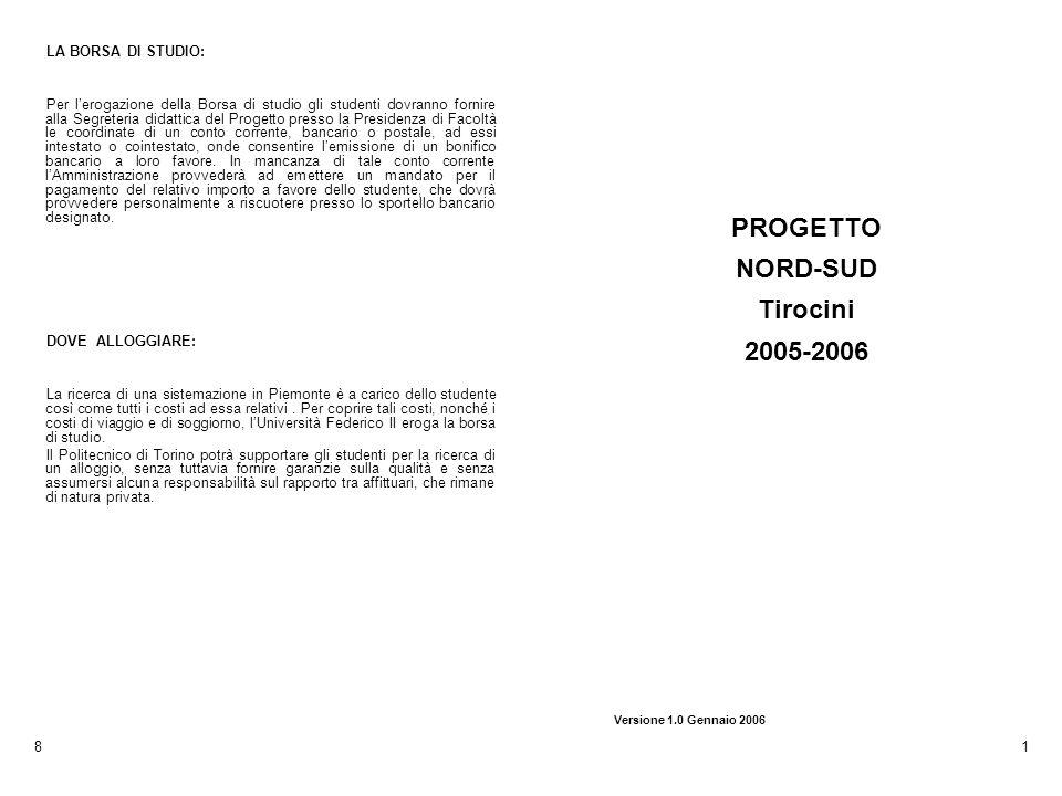 PROGETTO NORD-SUD Tirocini 2005-2006