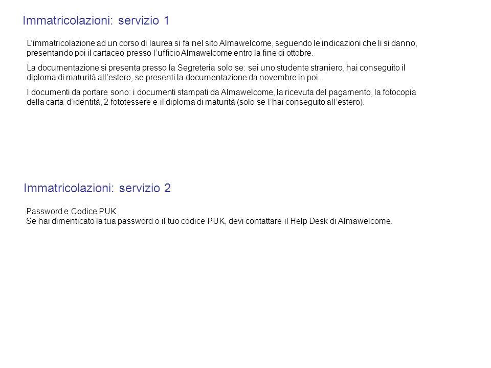 Immatricolazioni: servizio 1