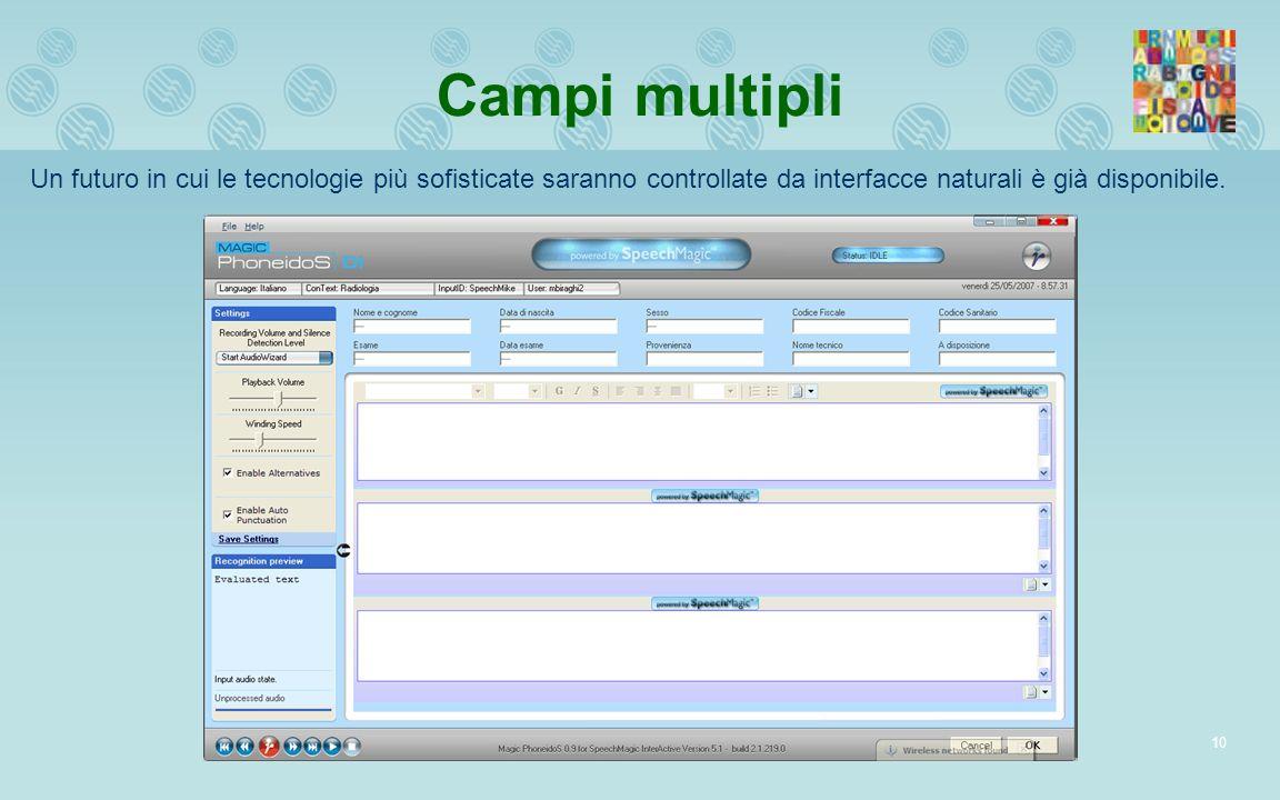 Campi multipli Un futuro in cui le tecnologie più sofisticate saranno controllate da interfacce naturali è già disponibile.