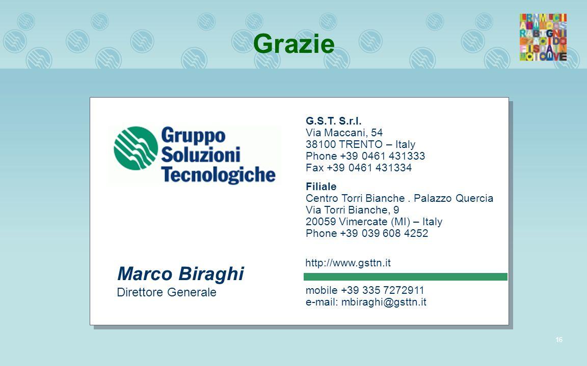 Grazie Marco Biraghi Direttore Generale G.S.T. S.r.l. Via Maccani, 54