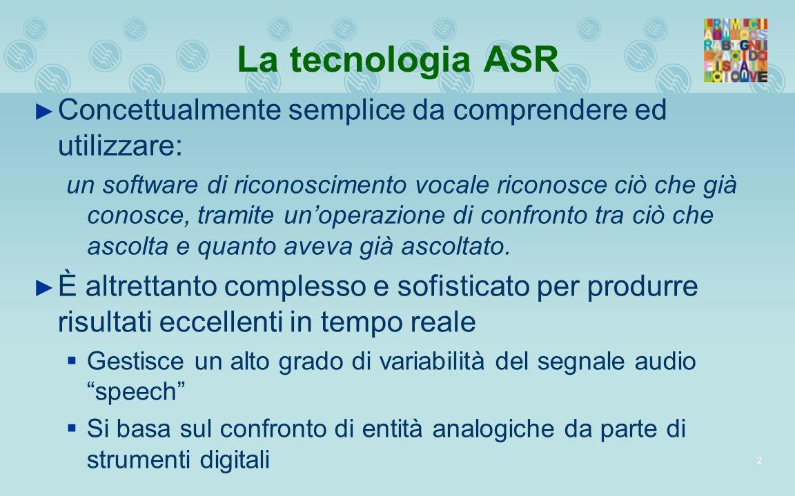 La tecnologia ASR Concettualmente semplice da comprendere ed utilizzare: