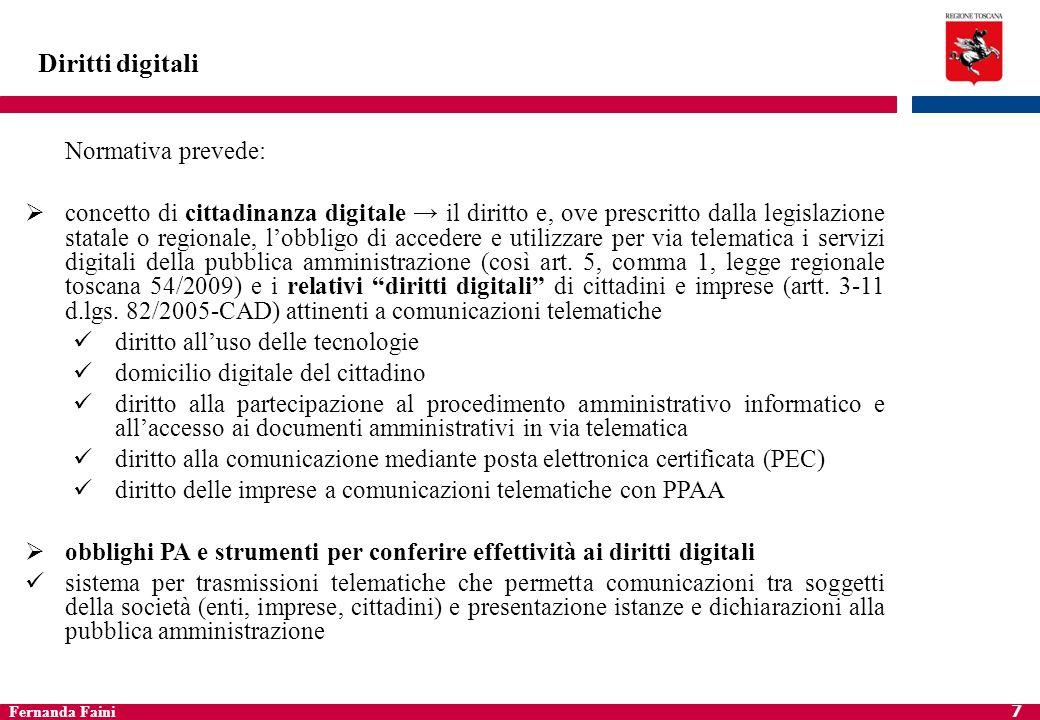 Diritti digitali Normativa prevede: