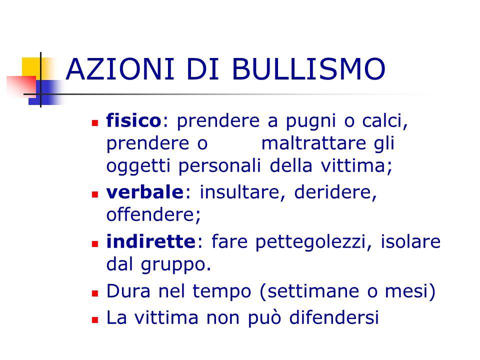 AZIONI DI BULLISMOfisico: prendere a pugni o calci, prendere o maltrattare gli oggetti personali della vittima;