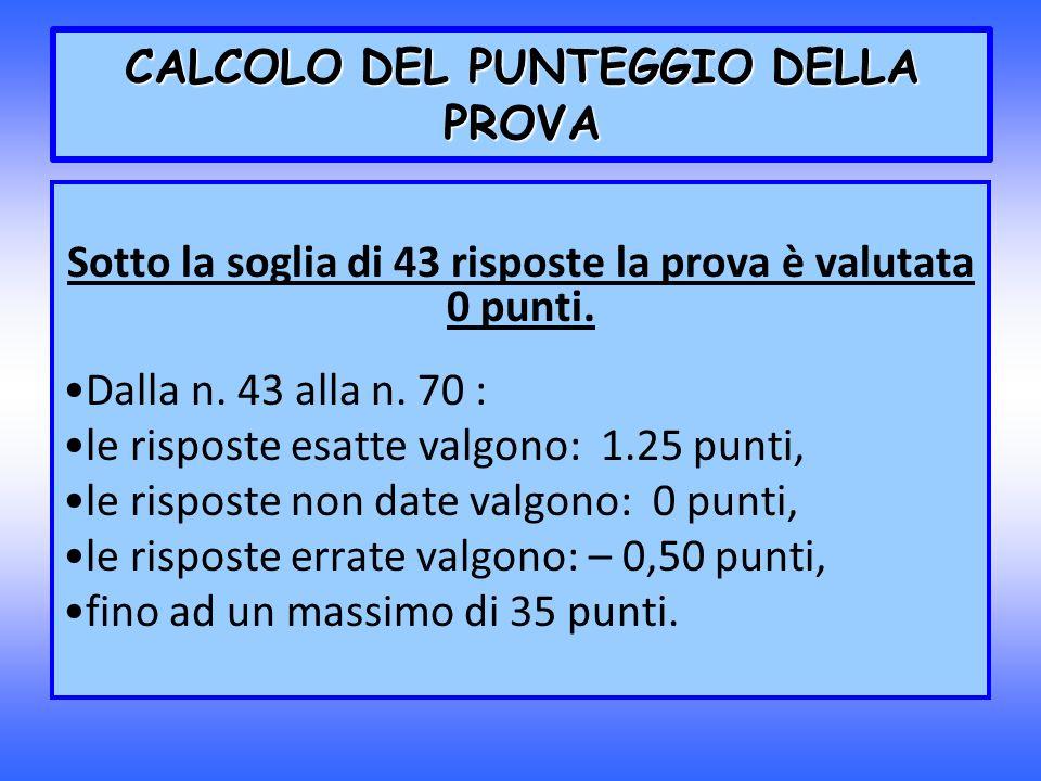 CALCOLO DEL PUNTEGGIO DELLA PROVA