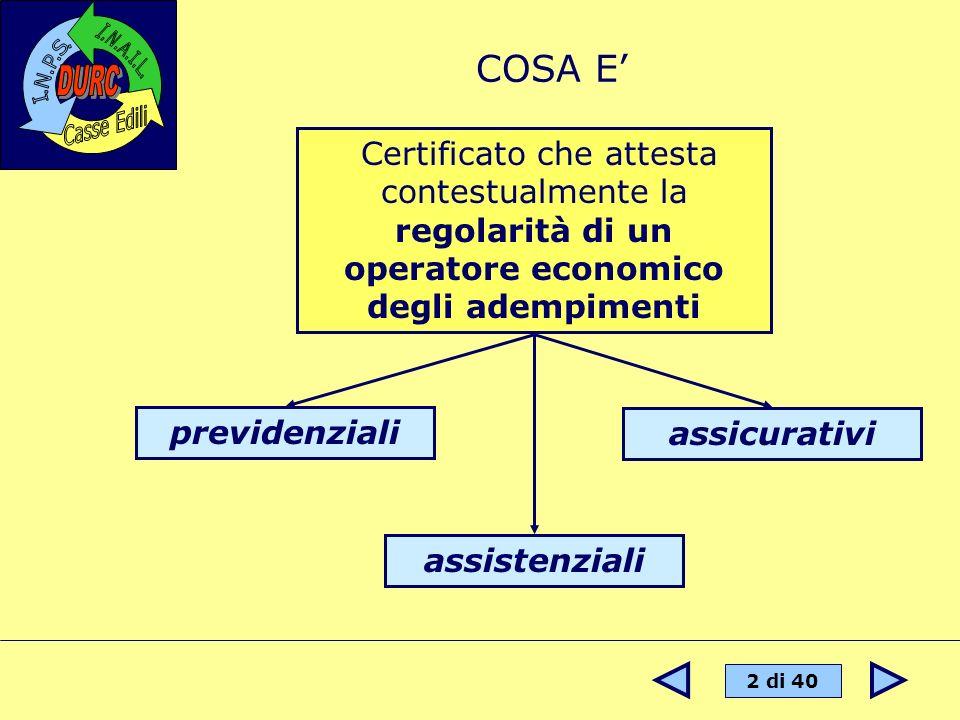 COSA E' Certificato che attesta contestualmente la regolarità di un operatore economico degli adempimenti.