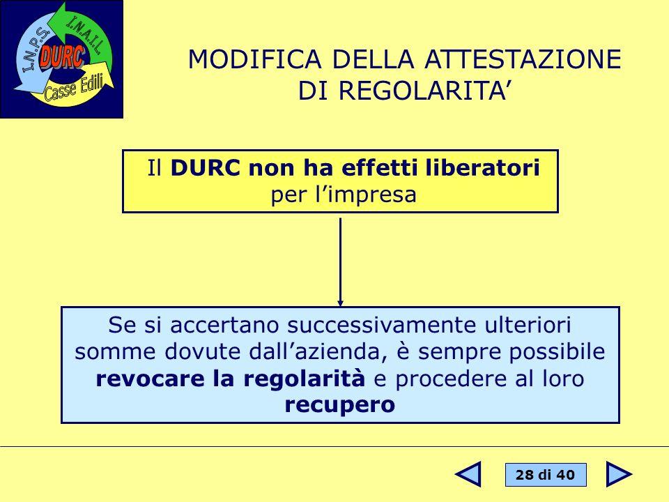MODIFICA DELLA ATTESTAZIONE DI REGOLARITA'