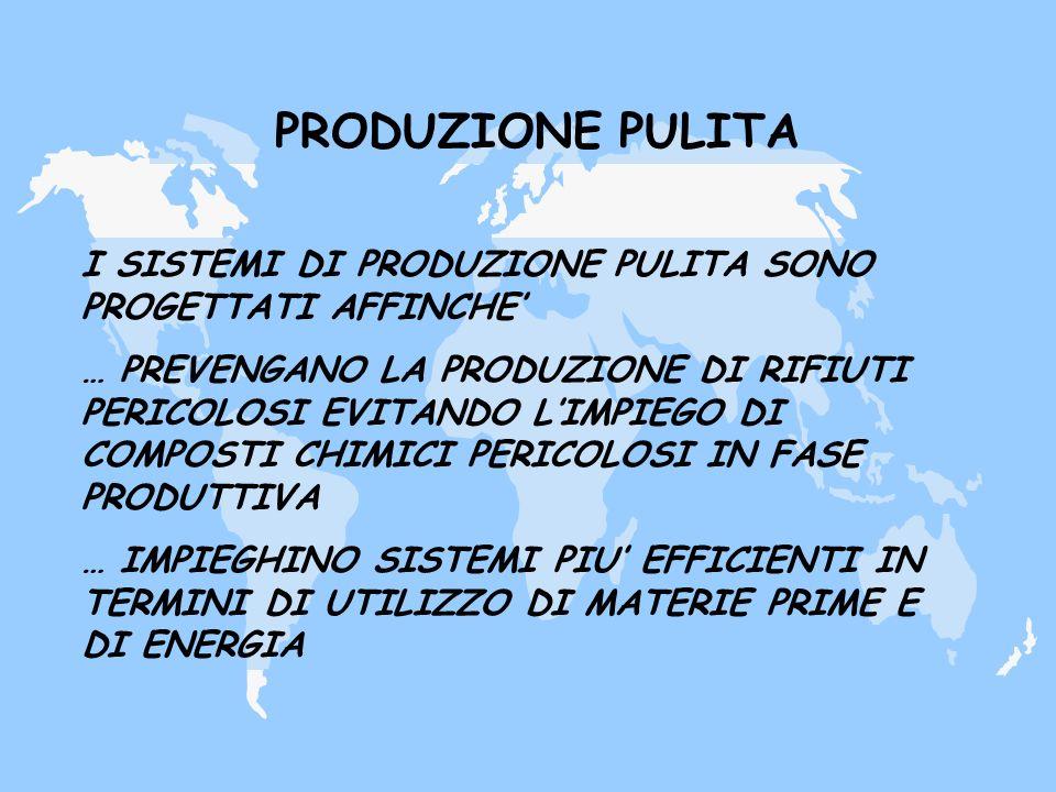 PRODUZIONE PULITA I SISTEMI DI PRODUZIONE PULITA SONO PROGETTATI AFFINCHE'