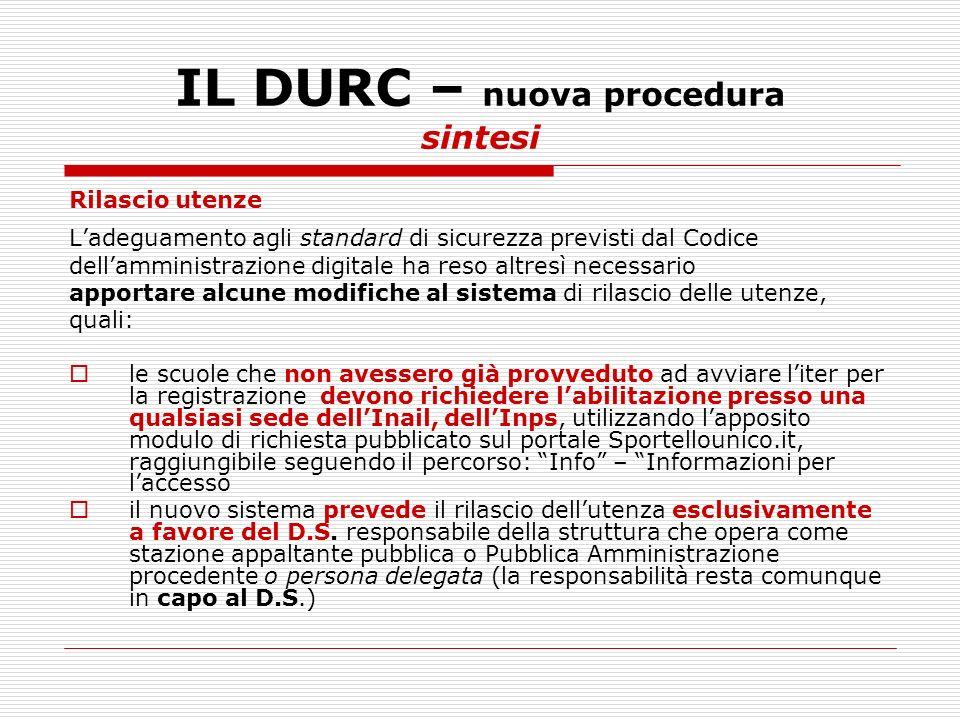 IL DURC – nuova procedura sintesi