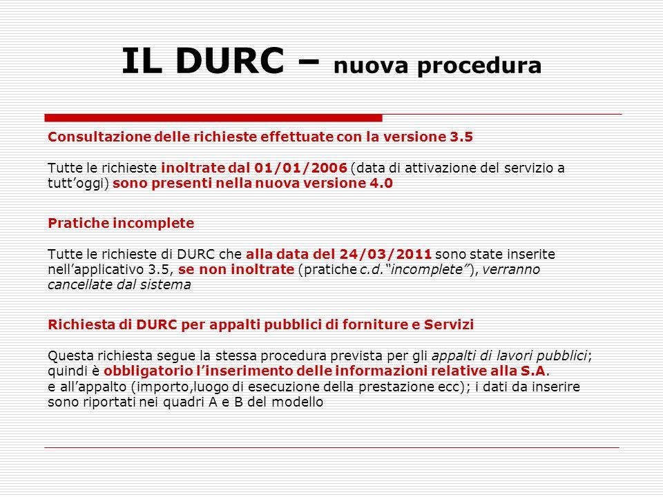 IL DURC – nuova procedura