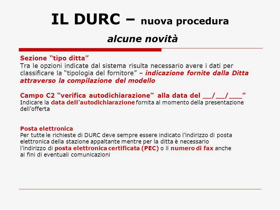 IL DURC – nuova procedura alcune novità