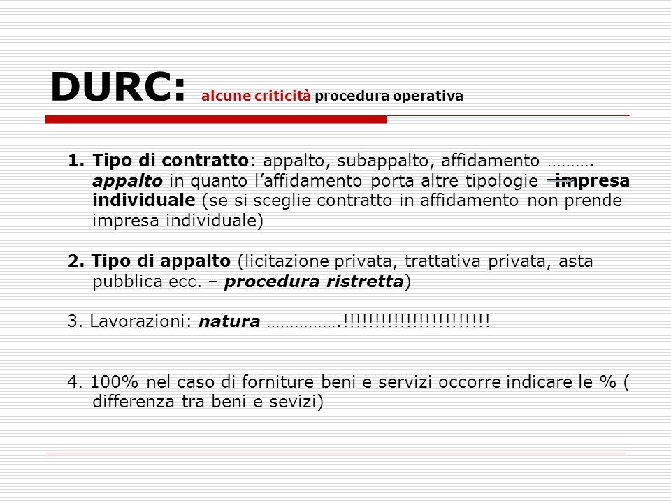 DURC: alcune criticità procedura operativa