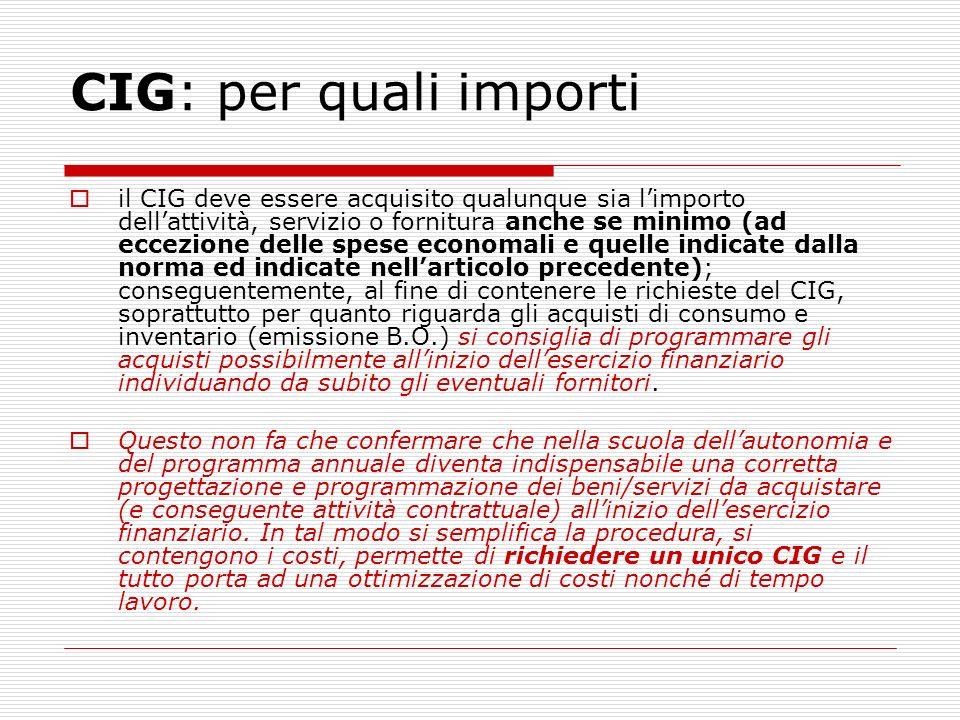CIG: per quali importi