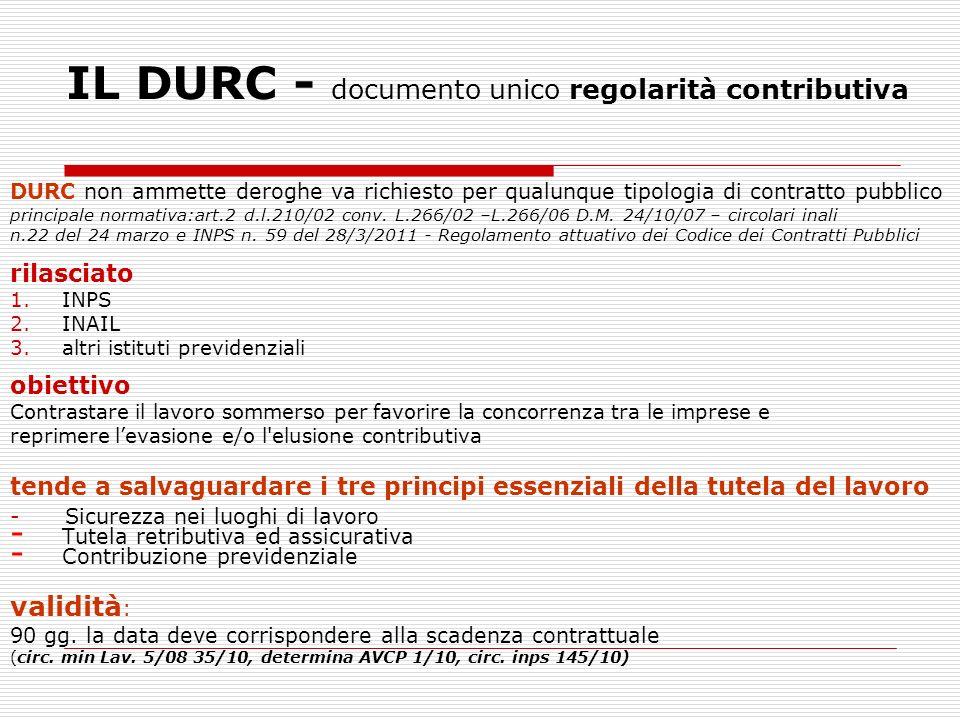IL DURC - documento unico regolarità contributiva