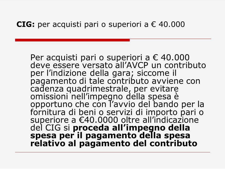 CIG: per acquisti pari o superiori a € 40.000