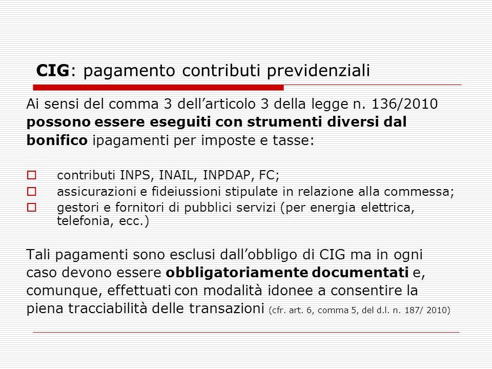 CIG: pagamento contributi previdenziali