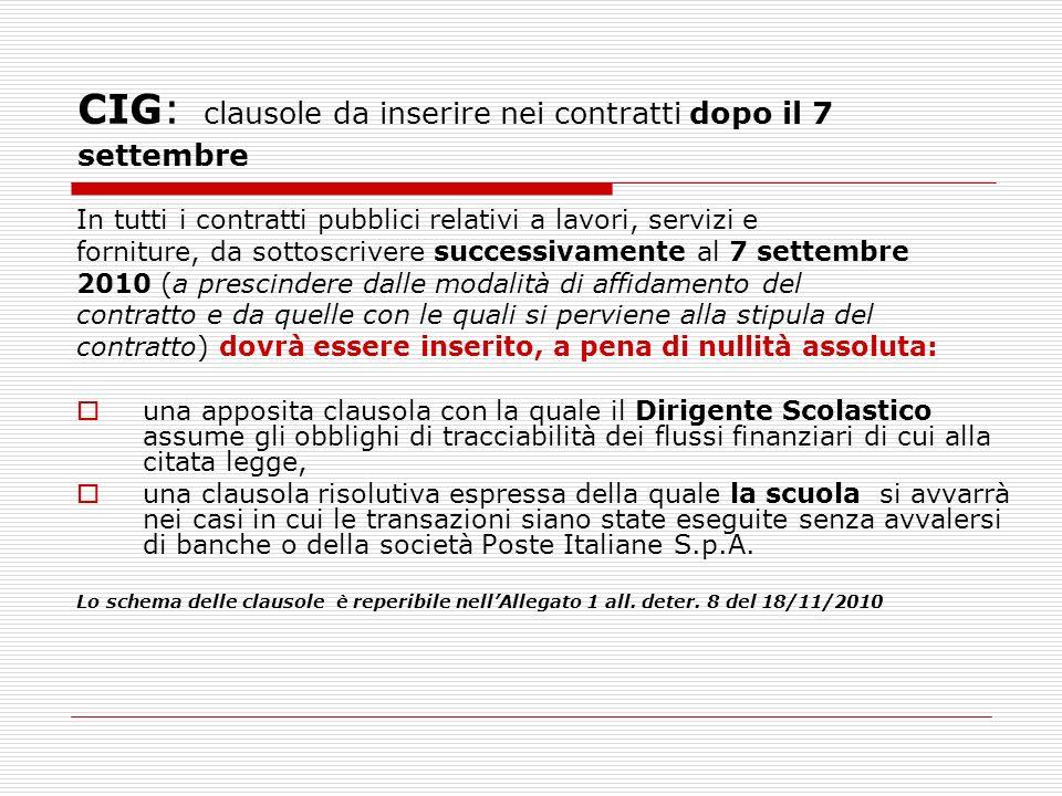 CIG: clausole da inserire nei contratti dopo il 7 settembre