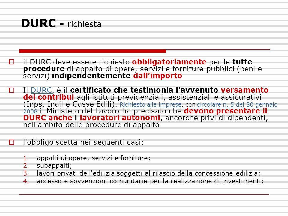 DURC - richiesta