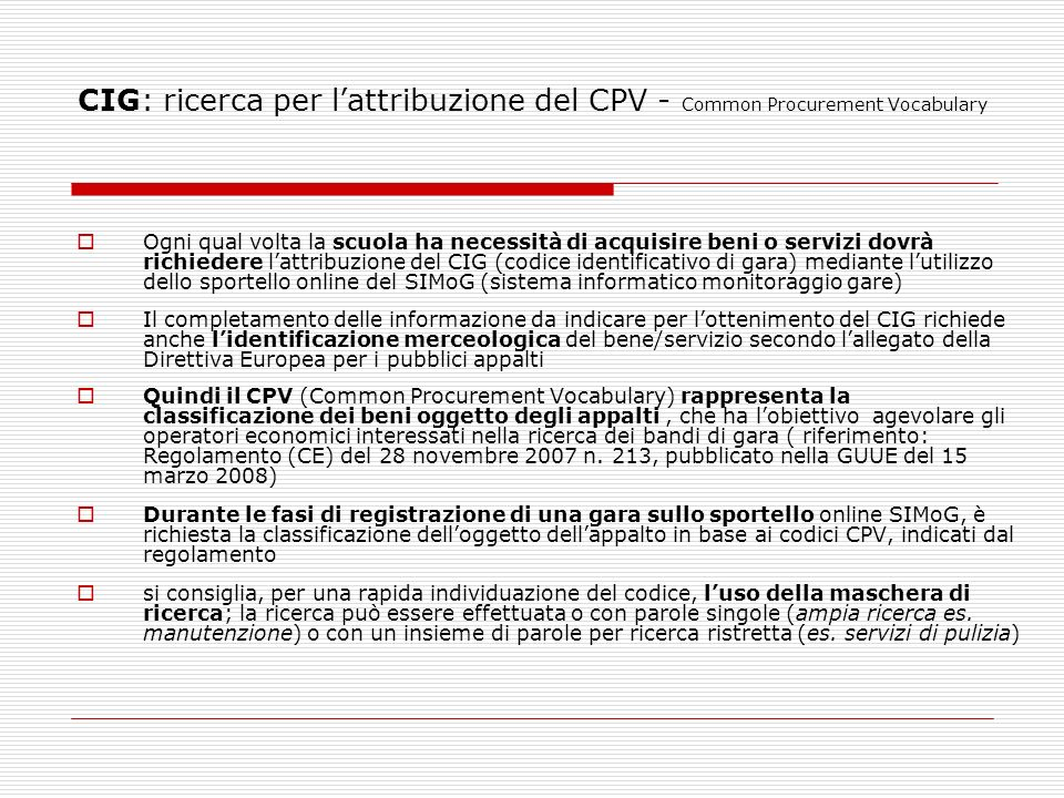 CIG: ricerca per l'attribuzione del CPV - Common Procurement Vocabulary