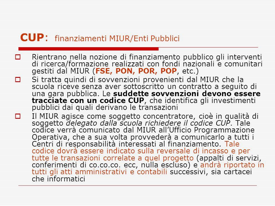 CUP: finanziamenti MIUR/Enti Pubblici