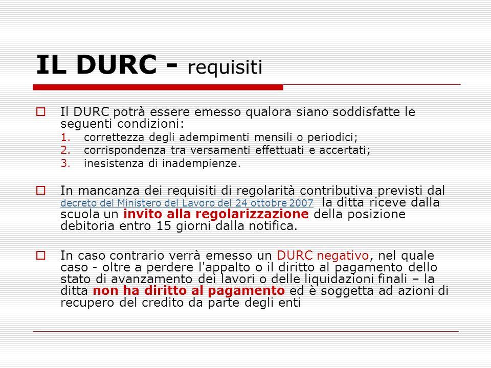 IL DURC - requisiti Il DURC potrà essere emesso qualora siano soddisfatte le seguenti condizioni: correttezza degli adempimenti mensili o periodici;