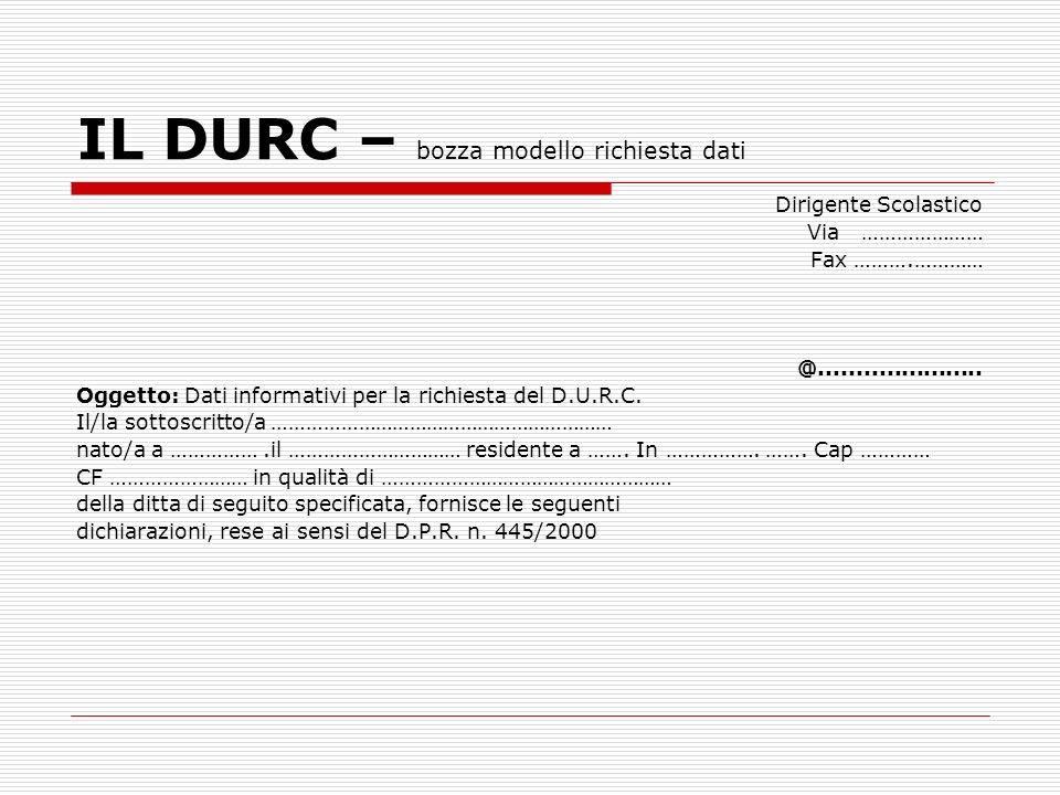 IL DURC – bozza modello richiesta dati
