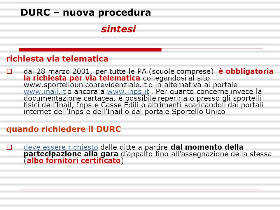 DURC – nuova procedura sintesi