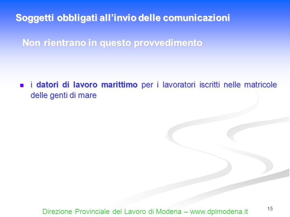 Soggetti obbligati all'invio delle comunicazioni
