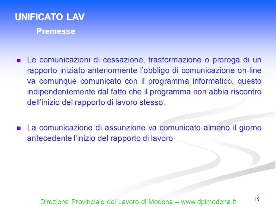 UNIFICATO LAV Premesse