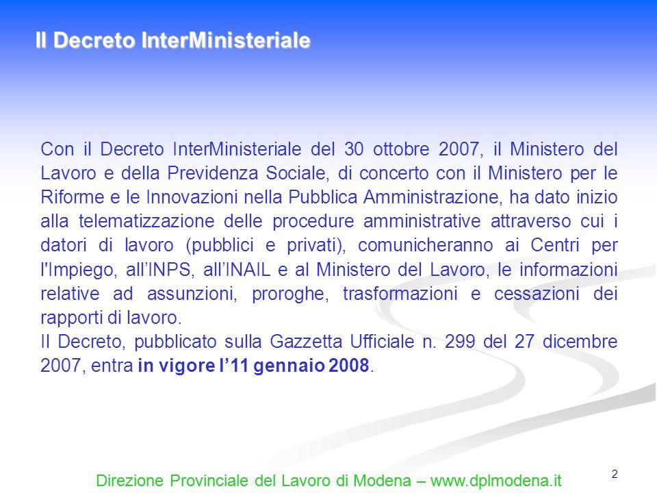 Direzione Provinciale del Lavoro di Modena – www.dplmodena.it