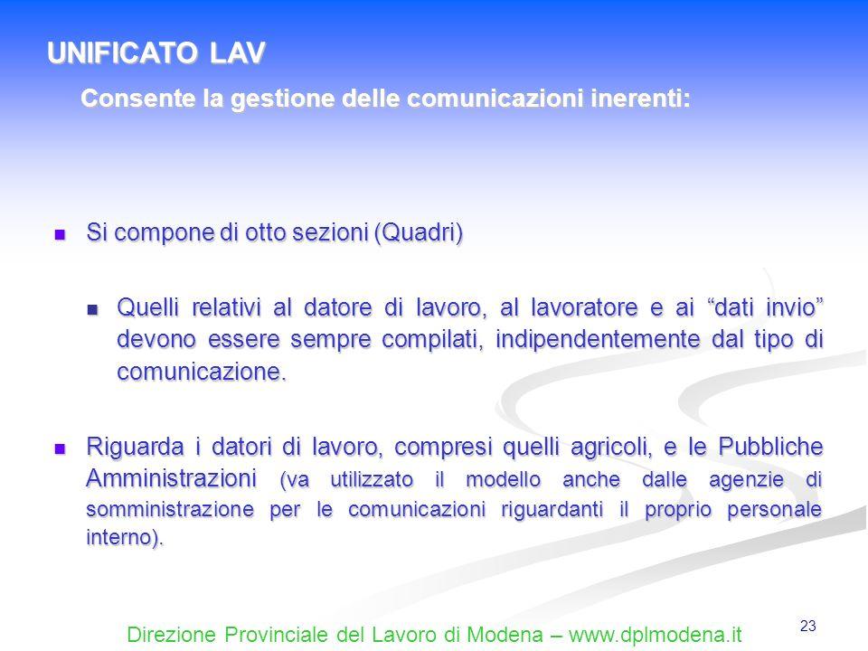 UNIFICATO LAV Consente la gestione delle comunicazioni inerenti: