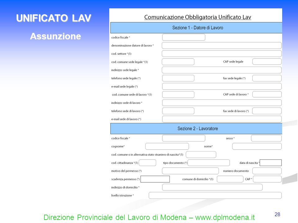 UNIFICATO LAV Assunzione