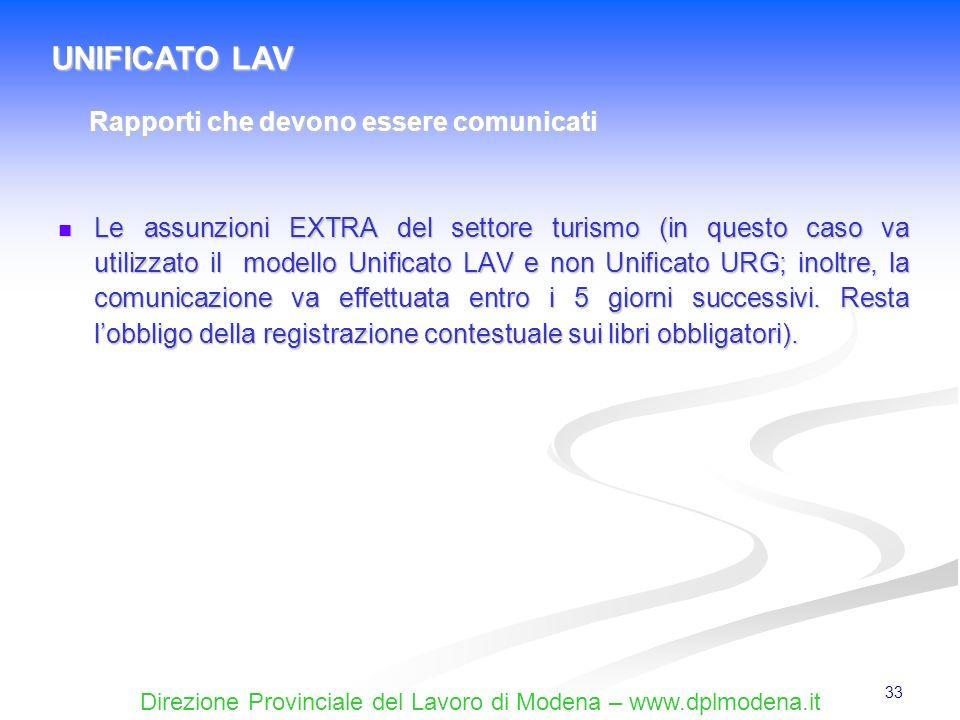 UNIFICATO LAV Rapporti che devono essere comunicati